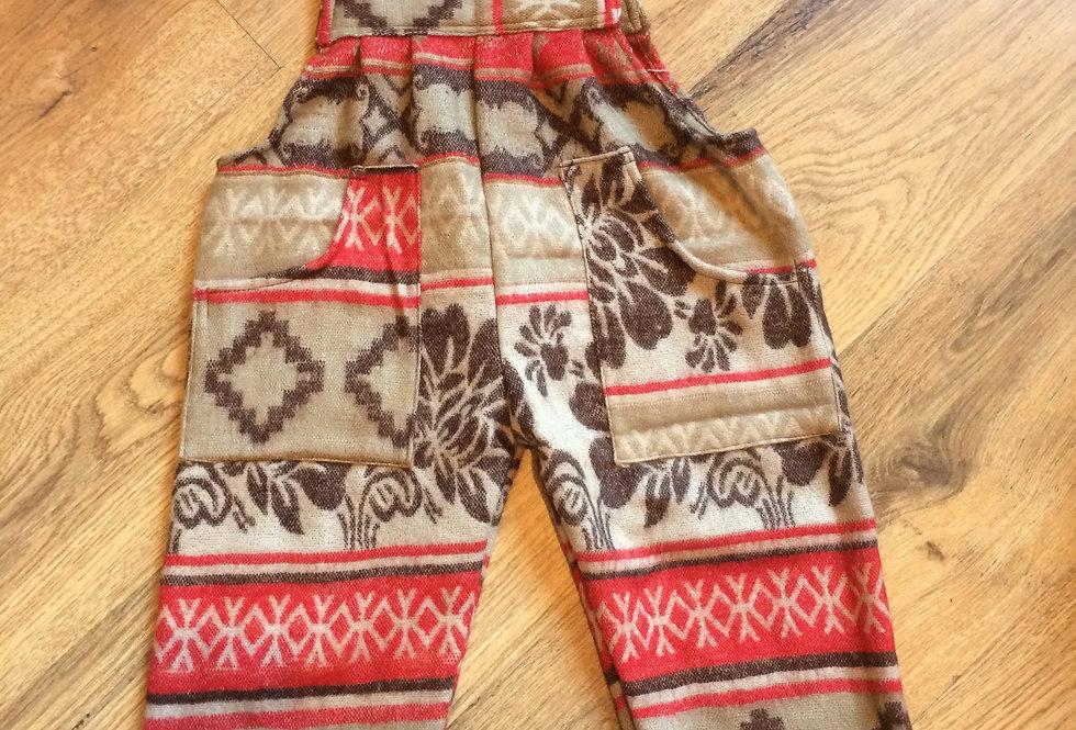 Kids Fleece Dungarees Aztec