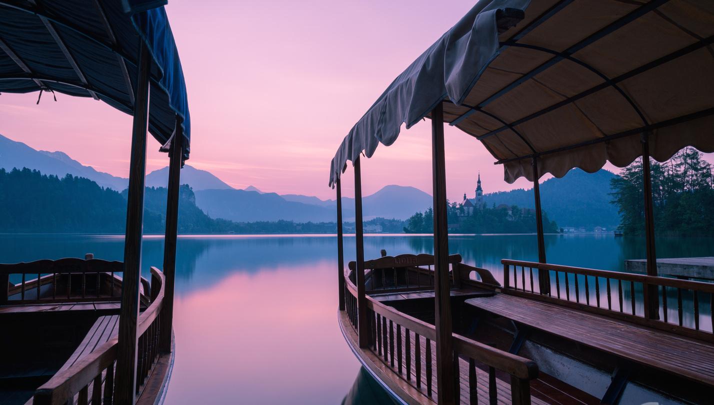 Lake Bled at sunset copy