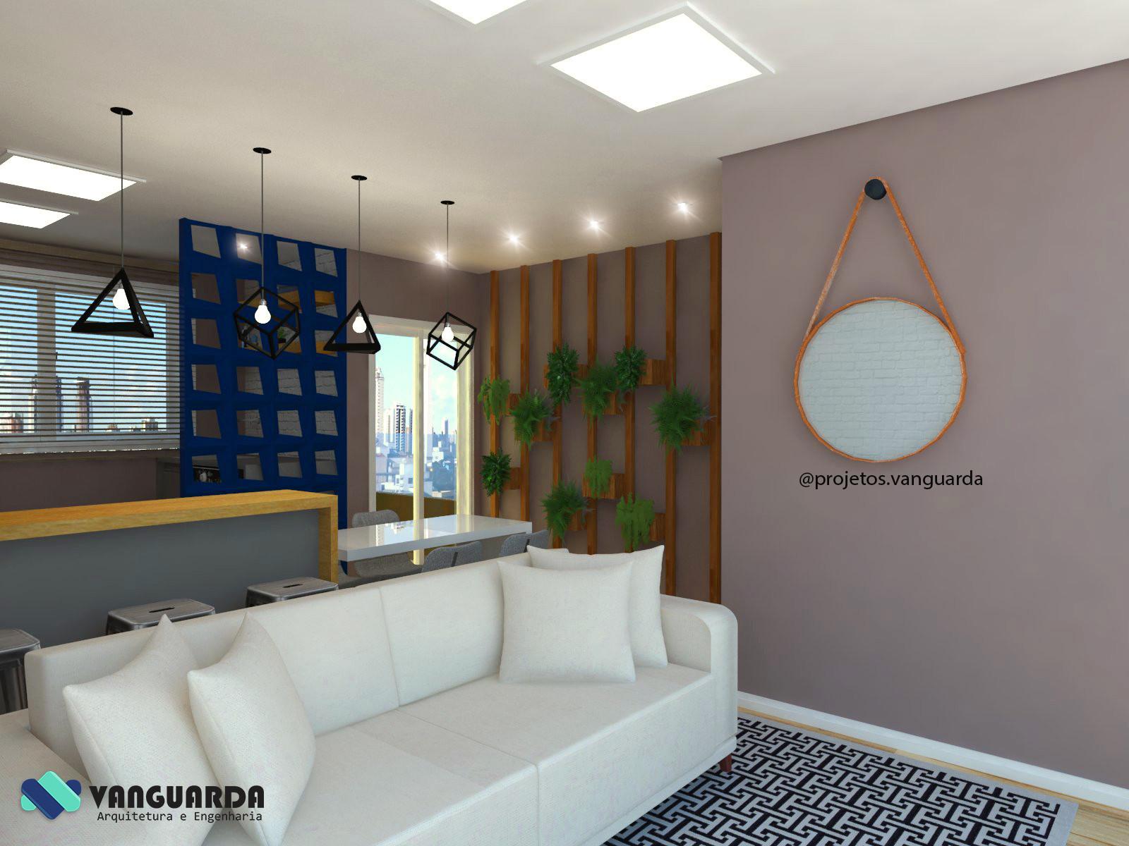Sala Conjugada Com Cozinha E Rea De Servi O Projetos Vanguarda  -> Cozinha Com Sala Conjugada
