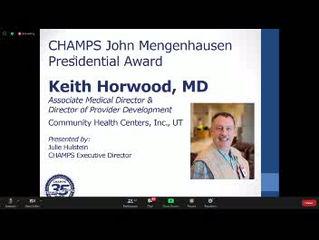 Keith Horwood MD Awarded the CHAMPS Mengenhausen Presidential Award