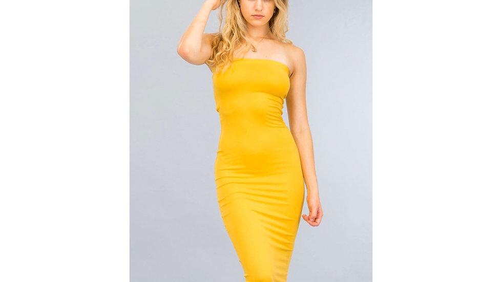 Bad Girl Tube Dress (Mustard)