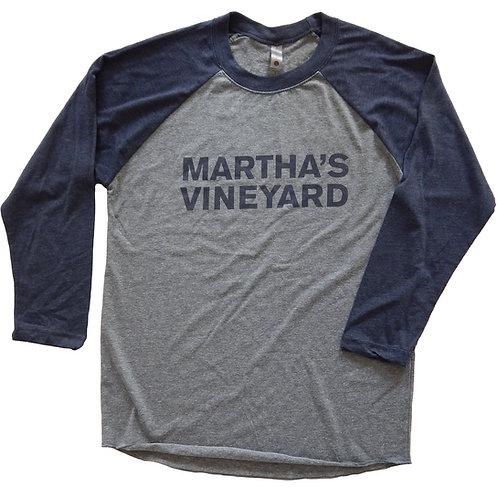 Martha's Vineyard Unisex Navy/Heather Tri-Blend 3/4 Baseball Shirt