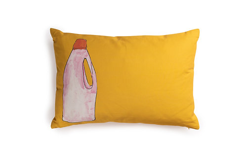 Yellow Cushion with Pink Bottle, 60x40cm