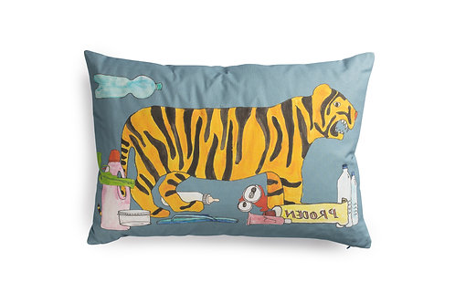 Blue Cushion with Tiger in Waste, 60x40cm