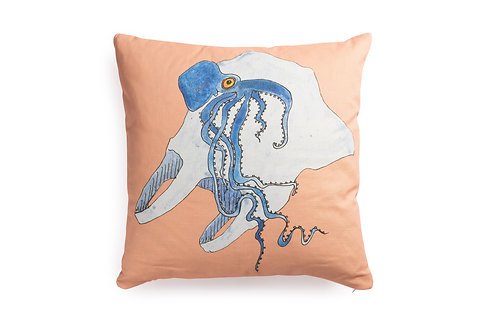 Pink Cushion with Octo, 50x50cm