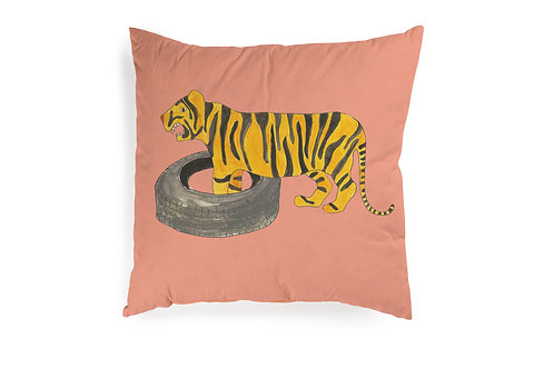 Pink Cushion with Tiger, 50x50cm