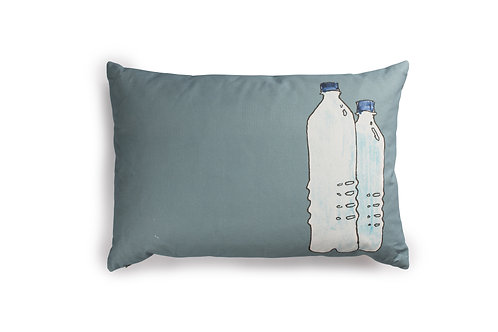 Grey/Blue Cushion with WaterBottles, 60x40cm