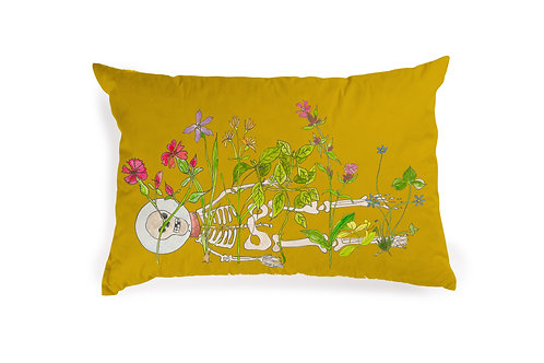 Yellow Cushion with Skeleton Flowers, 60x40cm