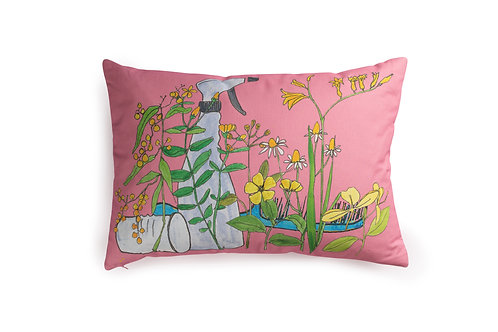 Pink Cushion with Plastic and Flowers, 60x40cm