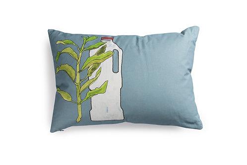 Grey/Blue Cushion with Milk Bottle, 60x40cm