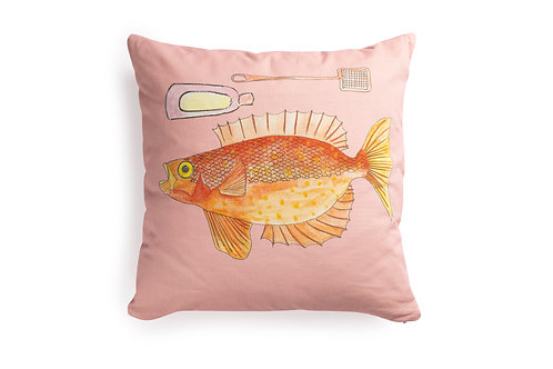 Pink Cushion with Fish, 50x50cm
