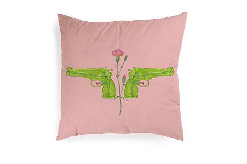 Pink Cushion with Gun, 50x50cm