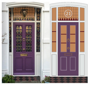 Wooden Front Door with Stained glass