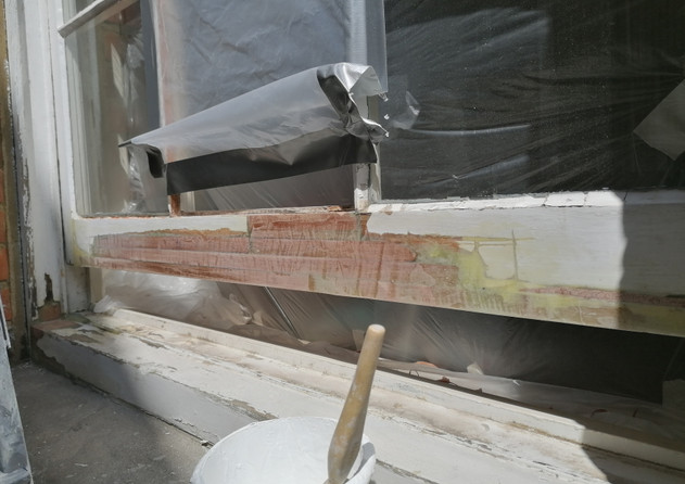 Restoration project. Wooden sash window