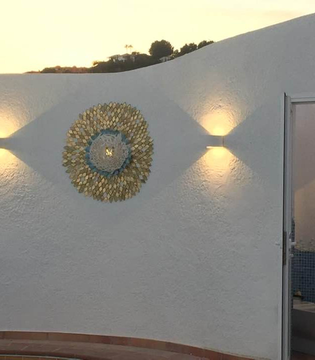 Hand Made Ceramic Light. Outside wall