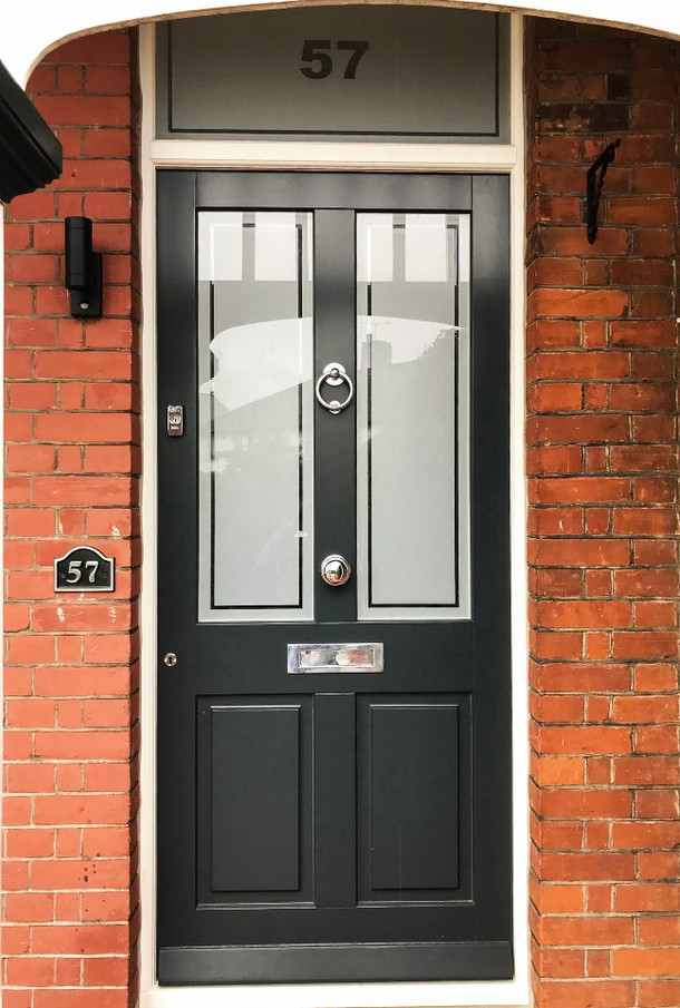 Wooden Front Door with frosted glass pan