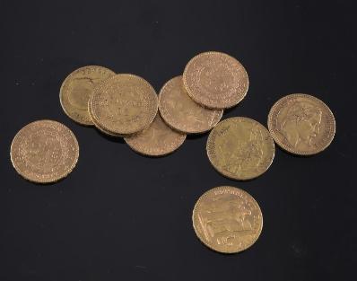 Onze pièces de 20 Francs en or - Adjugé