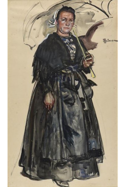 Lucien SIMON, Bretonne au parapluie
