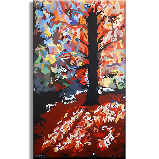 "ORIGINAL: 'Fall Fireworks' / Acrylic on Canvas (unframed) / 36"" X 60"""