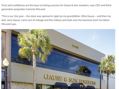 Gause and Son Jewelers featured in Southern Jewelry News