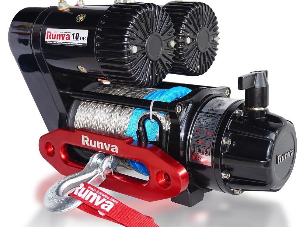 RUNVA EWS10000 Twin Motor Competition Winch with Synthetic Rope  12V or 24V