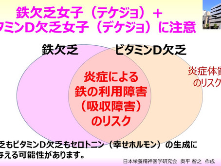鉄欠乏女子(テケジョ)+ビタミンD欠乏女子(デケジョ)に注意