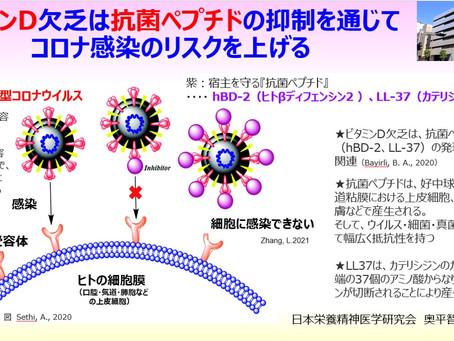 ビタミンD欠乏は、抗菌ペプチドの抑制を通じて、新型コロナウイルス(COVID-19)感染のリスクを上げる