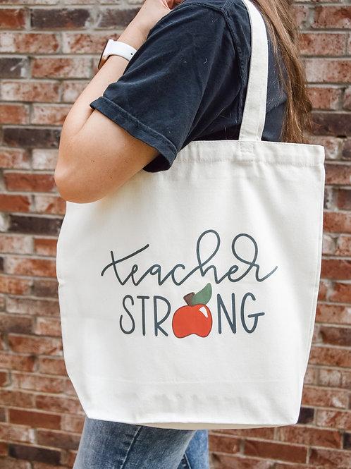 TEACHER STRONG Canvas Tote Bag