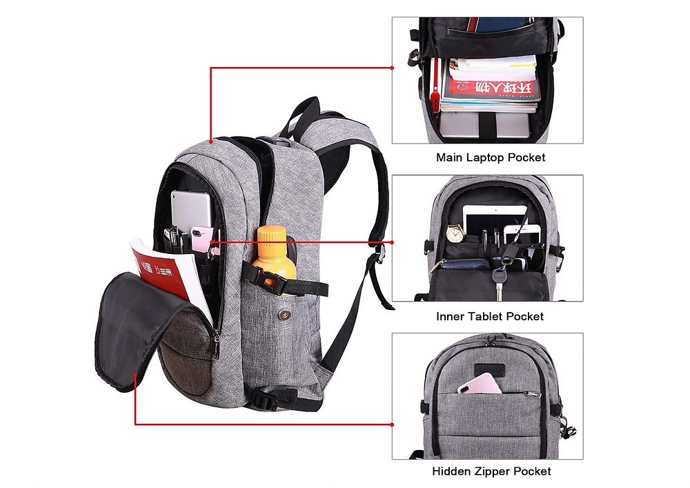 Tzowla grey backpack and pockets