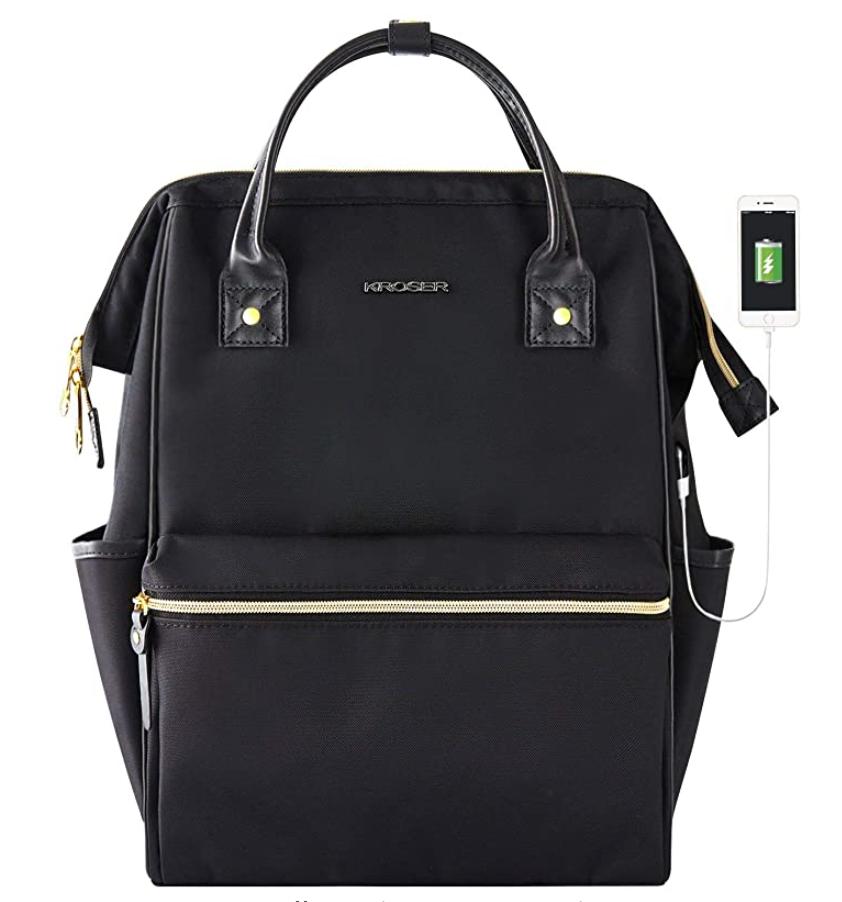 Black Kroser laptop bag/purse with gold zippers