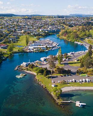 Lake Taupo boat harbour and Waikato Rive