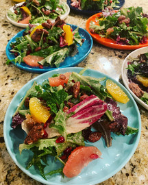 Mixed Green Salad with Walnut Dressing.J