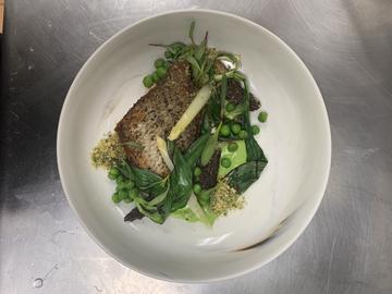 Seared Rockfish w: Pea Puree and Morels