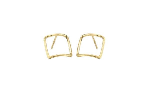 Aretes Tiny Geometric Square Gold