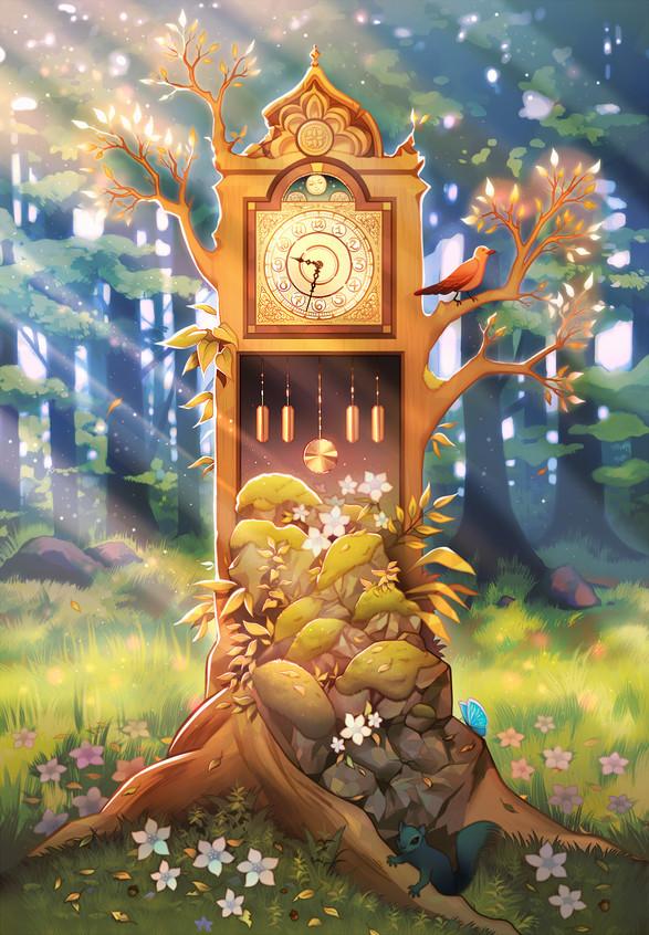 Grandfather clock terrarium