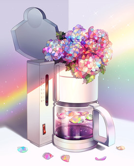 Coffee maker with flowers