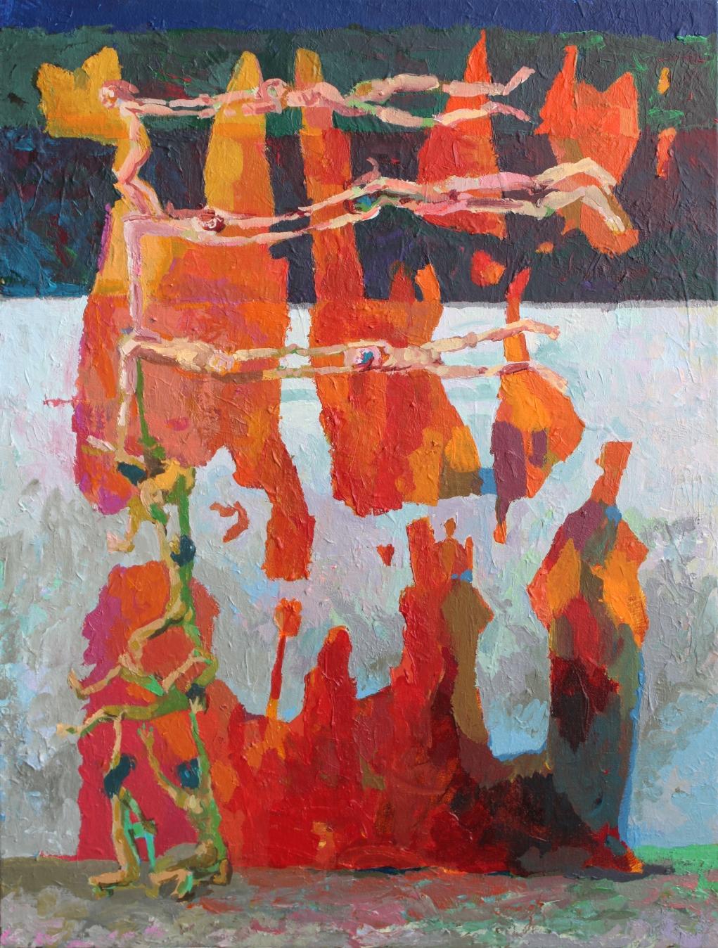 Fahne,  Acryl auf Leinwand 80 x 100 cm