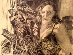 Self-portrait with plant