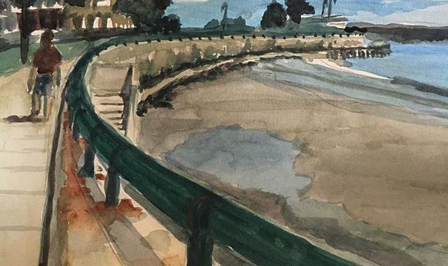 Walking on Lynn Shore Drive. Watercolor.