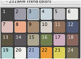 (サポートからのお知らせ)2019AW Trend color スウォッチデータが追加されました