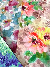 繊細な水彩調のぼかしや、草花の細い絵筆のタッチも、ディザ表現で少ない色数で再現が可能です。