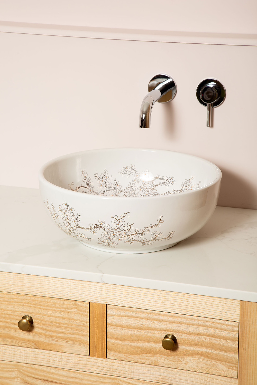 style and form interior design, floral basin design, bathroom design