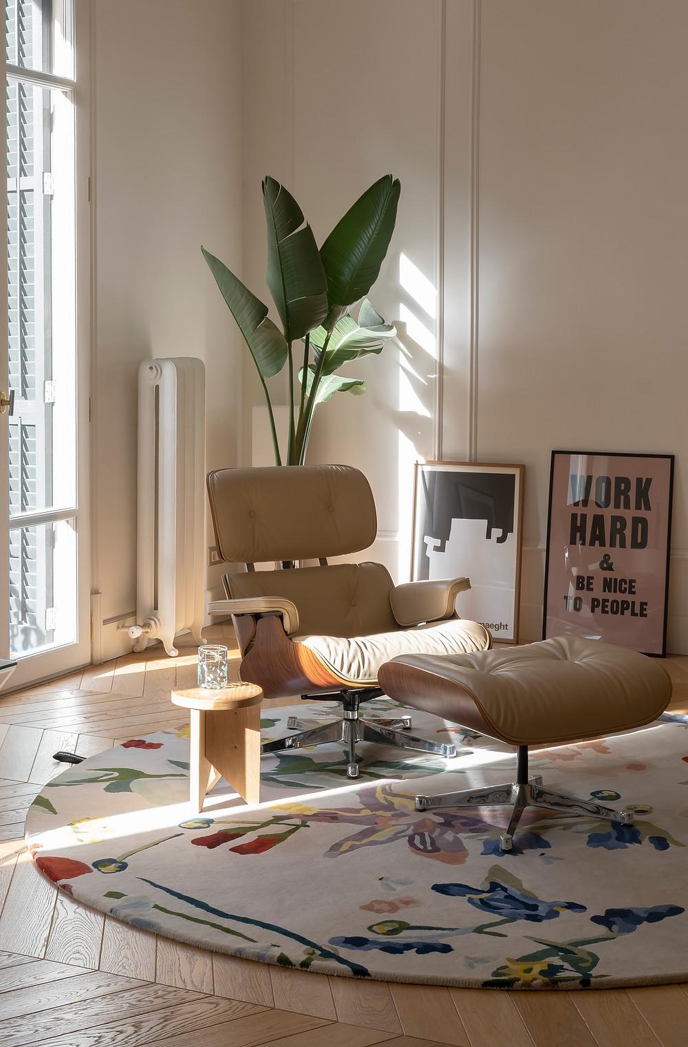 style and form interior design blog, light floral rug