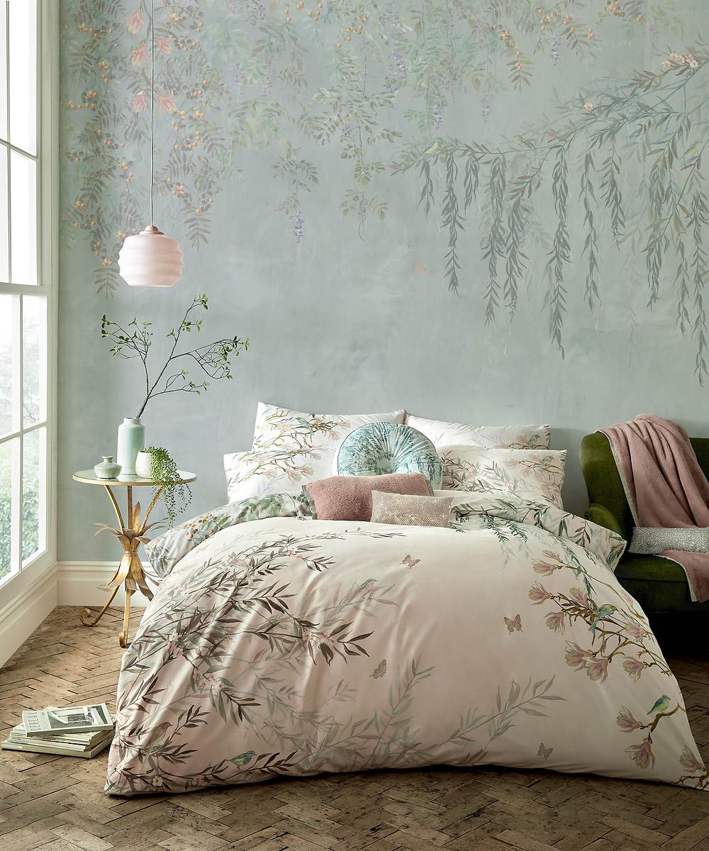 style and form interior design blog, light floral bedding