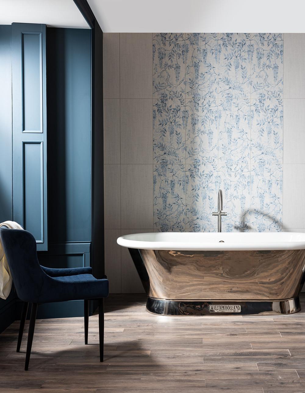 style and form interior design blog, light floral tiles, bathroom design