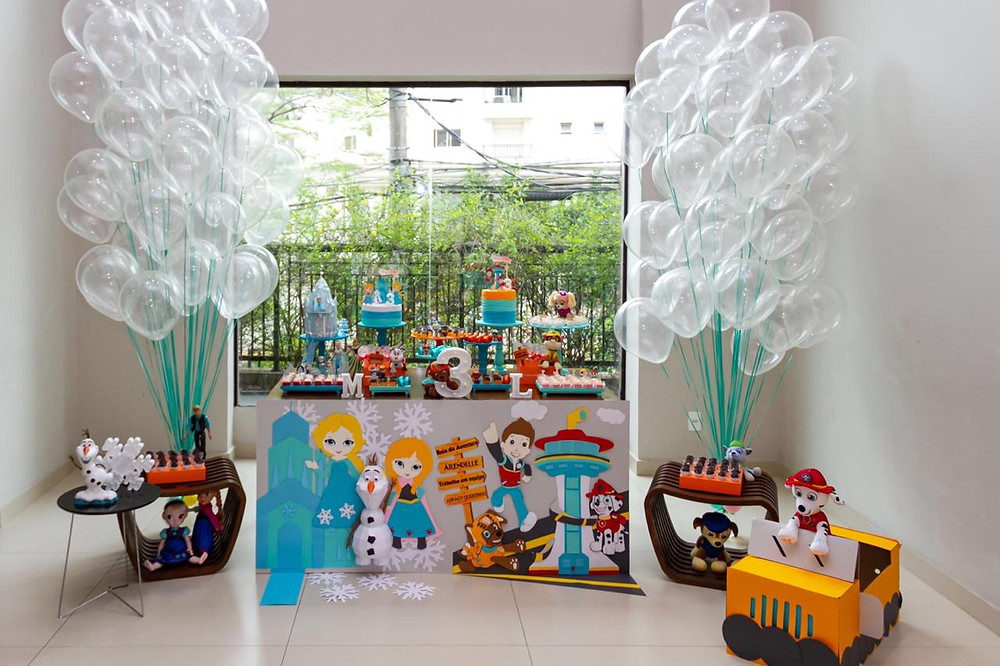 Festa infantil: dois temas - Frozen e Patrulha Canina