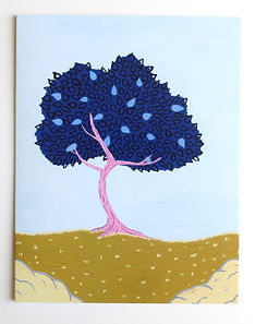 Blue Tree Greeting Card Close up of fron