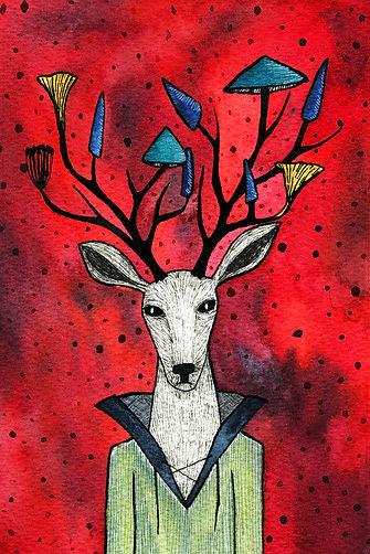 Mushroom Deer Fantasy Animal by Lonely Pine Art