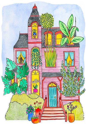 Crazy Plant Lady House Fine Art Print by Lonely Pine Art