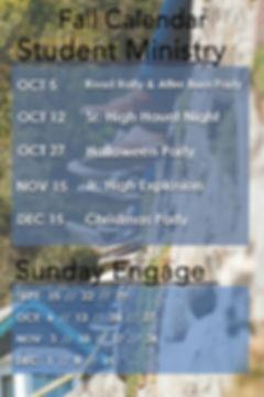 Student Ministry FALL 2019 Calendar 24 X